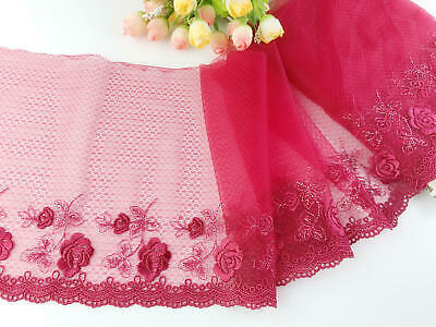 """7.5""""*1yard Delicate Red Embroidered  flower  tulle Lace Trim DIY 0493"""