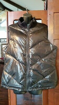Old Navy Womens XL Black Glossy Shiny Full Zip Puffer Vest quilted EUC