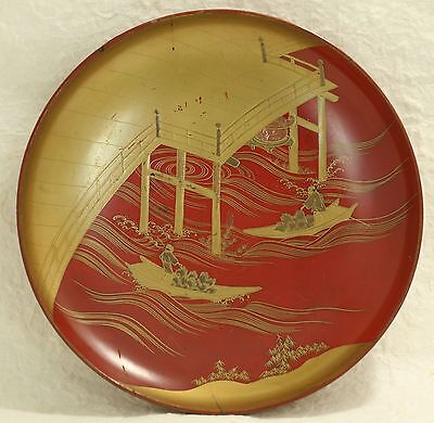Japanese Old Lacquer Ware Sake Cup Plate Wood Bridge River Wave Waterman Makie