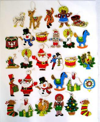 "Lot of 29 Vintage Wooden Christmas Ornaments Handmade 2.5"" to 6"" Long."