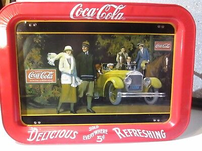 1987 Coca Cola Touring Car TV Bed Vintage Metal Serving Tray 17 x 12