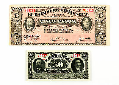 Set of 2 different Mexico 1915 Chihuahua 5 Pesos xf & Sonora 50 Centavos Au