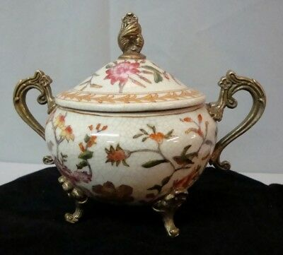 Sugar pot Pot Flower Art Deco Style Art Nouveau Style Porcelain Bronze Ceramic