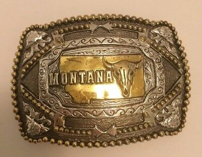 """Montana Belt Buckle 3""""x4"""" in Silver & Gold tones Beautiful casting front & back!"""