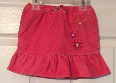 Girls 2T Pink Tommy Hilfiger Corduroy Skirt Floral Embroidery Detail Great Cond