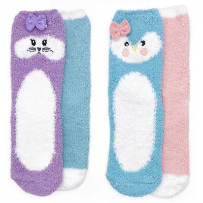 Assorted 2 Pairs of Girls Cosy Bed Slipper Socks with Super Cute Animal Face