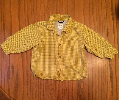 Baby Gap Boys 18-24 Months Long Sleeve Button Down Shirt Yellow Fully Lined