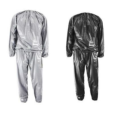 Heavy Duty Fitness Weight Loss Sweat Sauna Suit Exercise Gym Anti-Rip Silve A1Q2