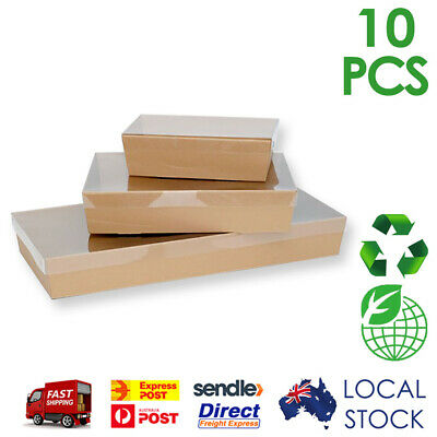Brown Kraft Corrugated Cardboard Catering Trays/Boxes with Window Lids