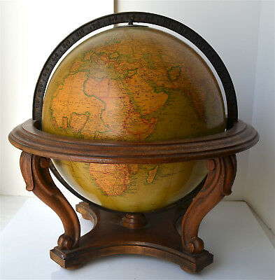 "Antique Original Replogle 12"" Library World Globe Victorian Style Wooden Stand"