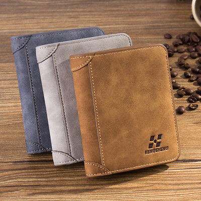 Vintage Mens PU Leather Credit Card Holder ID RFID Blocking Trifold Wallet Coin