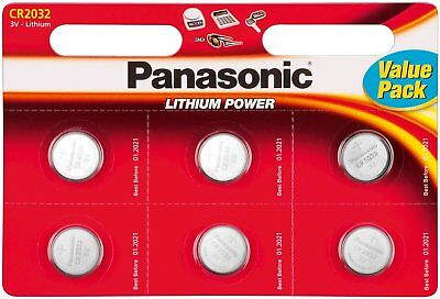 6x Panasonic CR2032 Lithium Coin Cell 3V Battery Car Key Fobs Toys Remote