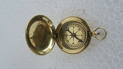 Solid Brass Polished Ross London Vintage Antique Pocket Push Button Compass