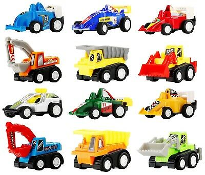 12 Pull Back Vehicles Cars Cute Kids Toy Set Gift For Birthday Party Bag Fillers