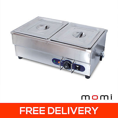 14L Electric Stainless Steel Bain Marie Food Warmer Display 2 GN 1/2 Pans Buffet