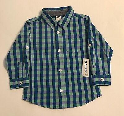 Old Navy Boys Plaid Button Up 18-24 Months Green Blue Cute Trendy Stylish Baby