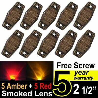 """10X TMH 2.5"""" Smoked Lens 5 Red + 5 Amber LED Light Side Marker Car Truck Trailer"""