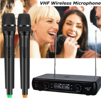 Pro Wireless Dual Handheld Microphone 2 Channel VHF Mic System Kit+LCD Receiver