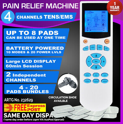 4 Channels TENS Machine Massager Pain Relief Unit LCD w/Extra Pads BUNDLES EMS