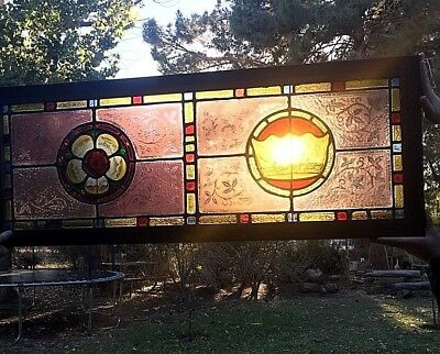 Stunning 1800s Antique Empire Victorian Oak Crown Stained Glass Window