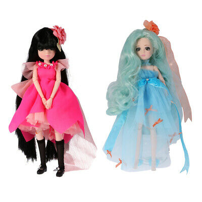 2 Sets 27Cm Flexible Vinyl Dressed Body Jointed Doll Kids Toy Birthday Gift