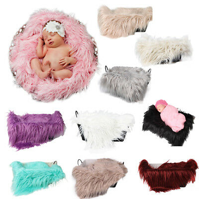 Baby Newborn Faux Fur Photography Photo Props Blanket Basket Stuffer Rug Be V2Z7