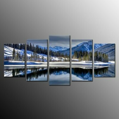Modern Art for Wall Home Decor Snow Mountain Canvas Prints Picture 5pcs