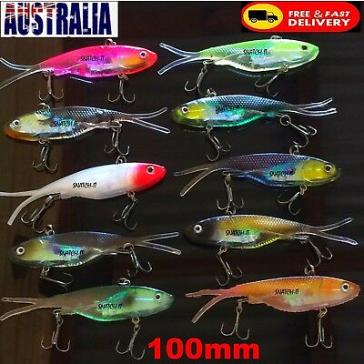 10 Soft Plastic Fishing Lures Vibe Transam Tackle 95mm Barra-Snapper Jack Lure