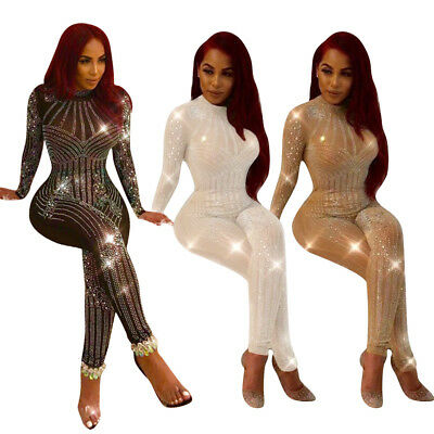 Sexy Women Mesh Hot Drilling Cocktail Jumpsuit Clubwear Party Evening Rompers