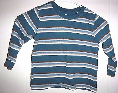 """Toddler Boy's """"Old Navy"""" Green / Multi Color Striped LS Shirt - size 3T"""