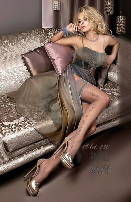 Ladies Ballerina 236 Grey Luxury Patterned Lace top Hold Ups S/M L/XL Hosiery