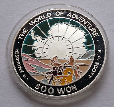 1995 Korea, 500 Won, The World of Adventure, Arctic Circle, Colour, Silver 999!!