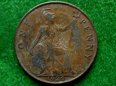 1920 UK Great Britian 1 Penny Coin  KM# 810  SB1028