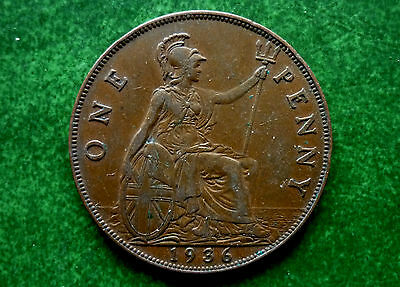 1936 UK Great Britian 1 Penny Coin  KM# 838 SB1032