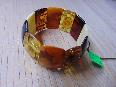 Multicolored White Honey Cognac Baltic Amber stones Bracelet 43 grams