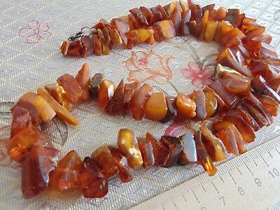 Natural Healing RAW Baltic AMBER honey egg yolk stones beads Necklace 59 grams