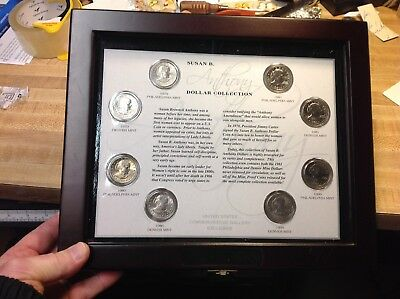 Susan B Anthony One Dollar Coins Unc Collector Set, Encased  Display