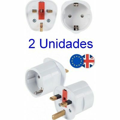 Pack 2 Unidades Adaptador Enchufe UK Reino Unido a UE Europa,ideal viaje,250 V