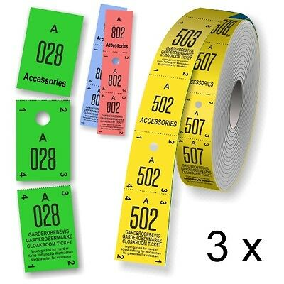 Cloakroom ticket rolls Coat check tickets in 3 parts with Serial numbering