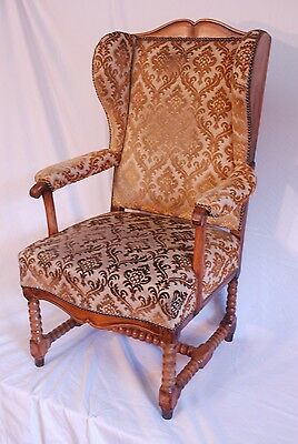 Antique Oak & walnut  winged Hall Occasional Dining Desk Armchair Chair