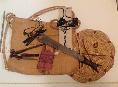 Tribal Collection, Cameroon, Africa - Sword,Knife,Wallet,Pipe,Tray,Whistle,Bag