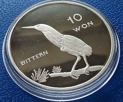 2004 Korea, 10 Won, Bittern, 1 Ounce, Silver 999, Fauna, Birds, Proof, Scarce !!