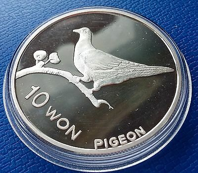 2004 Korea 10 Won, Pigeon, 1 Ounce, Silver 999, Fauna, Birds, Proof, Scarce !!