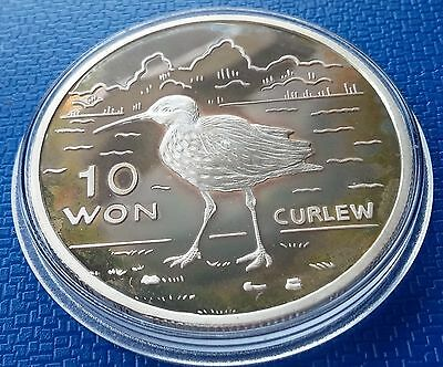 2004 Korea, 10 Won, Curlew, 1 Ounce, Silver 999, Fauna, Birds, Proof, Scarce !!