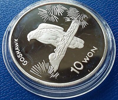 2004 Korea, 10 Won, Goshawk, 1 Ounce, Silver 999, Fauna, Birds Proof, Scarce