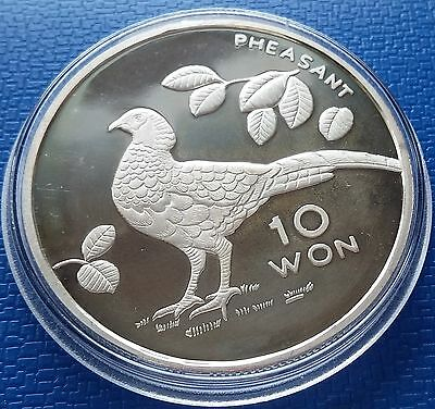2004 Korea 10 Won, Pheasant, 1 Ounce, Silver 999, Fauna, Birds Proof, Scarce !!