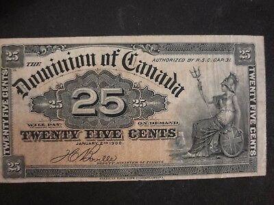 1900 DOMINION of CANADA TWENTY FIVE CENTS BANK NOTE