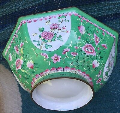 Lg Chinese Canton Green Enamel 8-sided Bowl handpainted flowers/birds antique