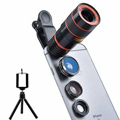 Apexel 4 in 1 Camera Lens 8x Telephoto Lens + Fisheye + Wide Angle + Macro Lens