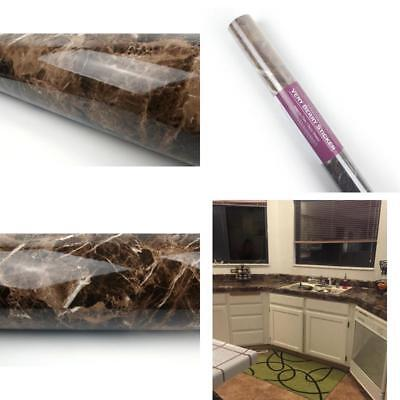 Marble Look Contact Paper Film Brown